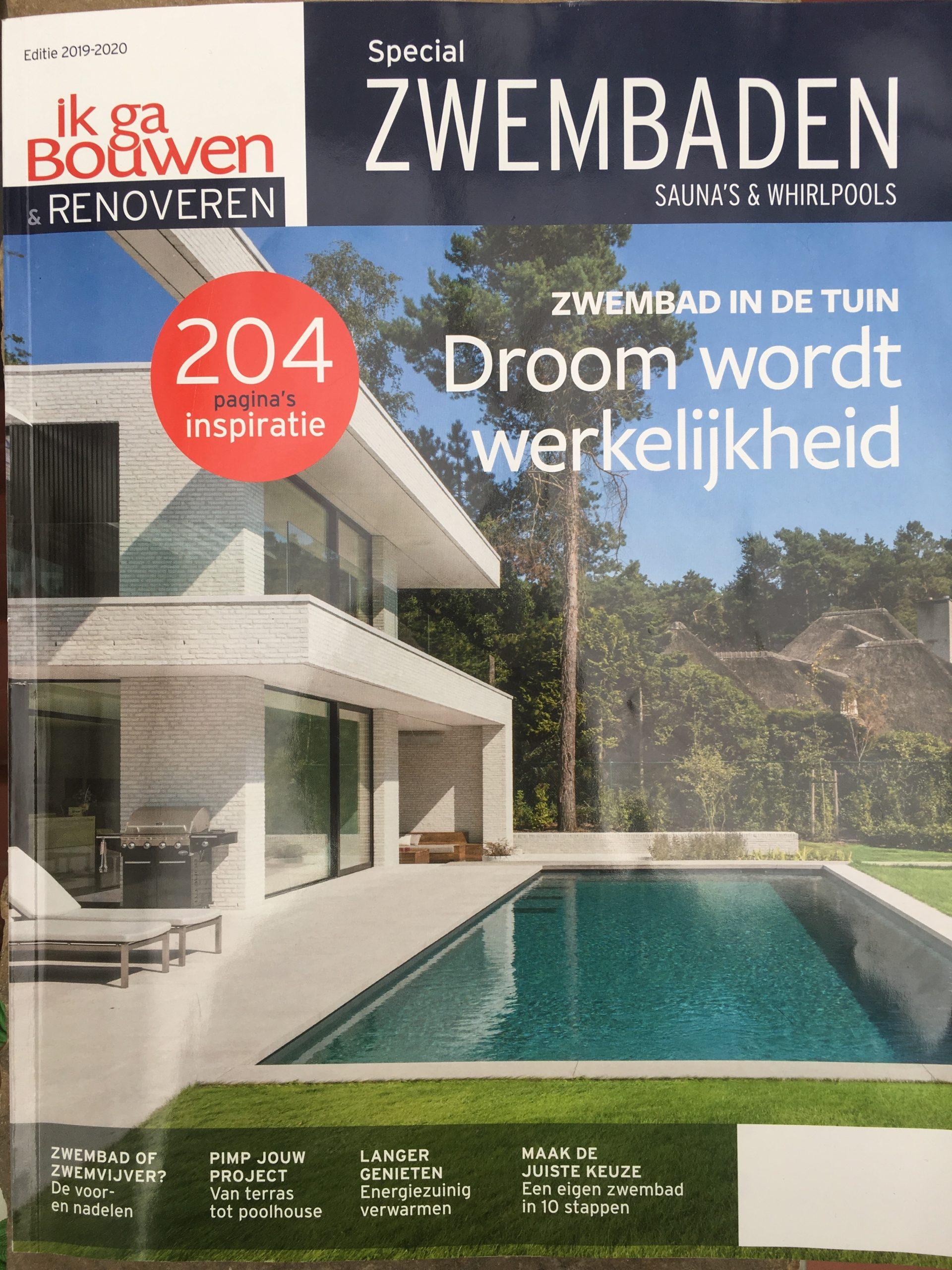 """Prachtige reportage in magazine """"Bouwen en renoveren"""" Special Zwembaden"""